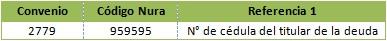 Convenio: 2779 - Codigo Nura: 959595 - referencia 1: No. de cedula del titular de la deuda