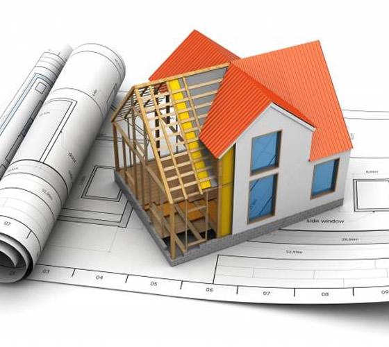 render de vivienda medio construida sobre planos